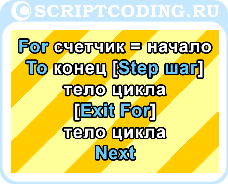 VBScript for next - перебор значений